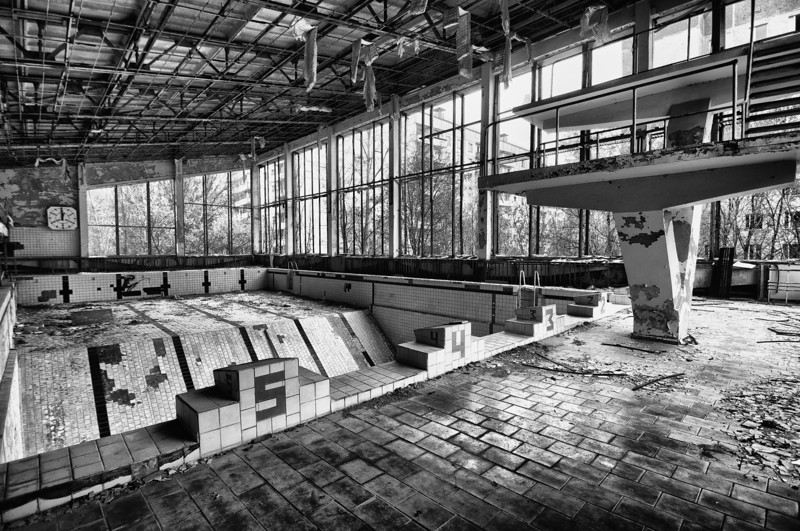 The Pool - The old swimming pool in Pripyat, Chernobyl Exclusion Zone 2010. Iconic location and made famous by Call of Duty. I was truly impressed how well they rebuild the swimming pool in the game. It almost looks the same. There just way more rubble inside the pool.