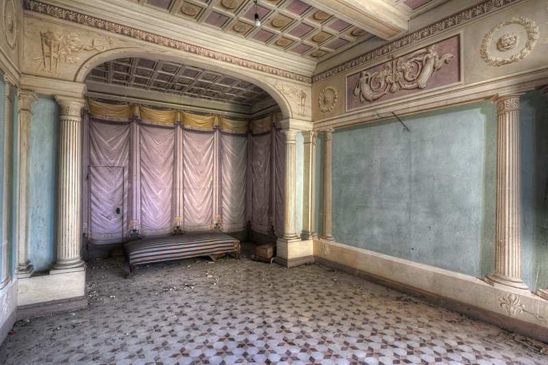 The master's bedroom - Painted bedroom inside an abandoned villa