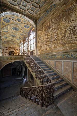 Golden - Staircase in a heavily decorated abandoned villa