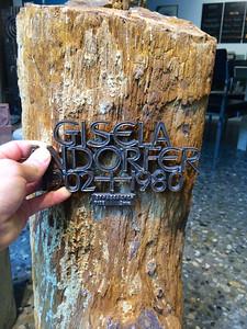 Musterschrift auf versteinertem Holz