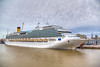 The Costa Fascinosa cruise ship at the port of Montevideo, Uruguay, South America.