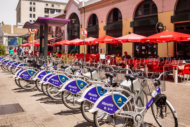 Bicycles for rent in Montevideo, Uruguay, South America.