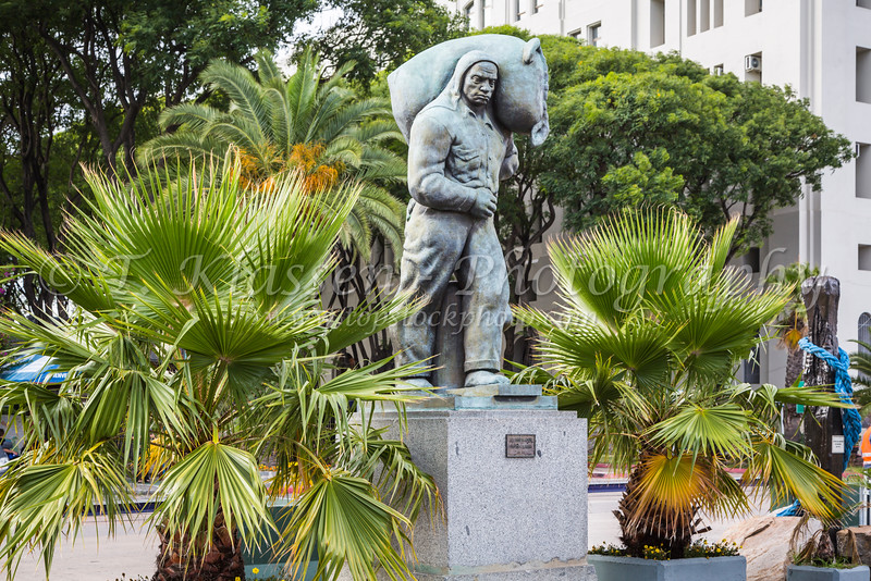 A workers statue in Montevideo, Uruguay, South America.
