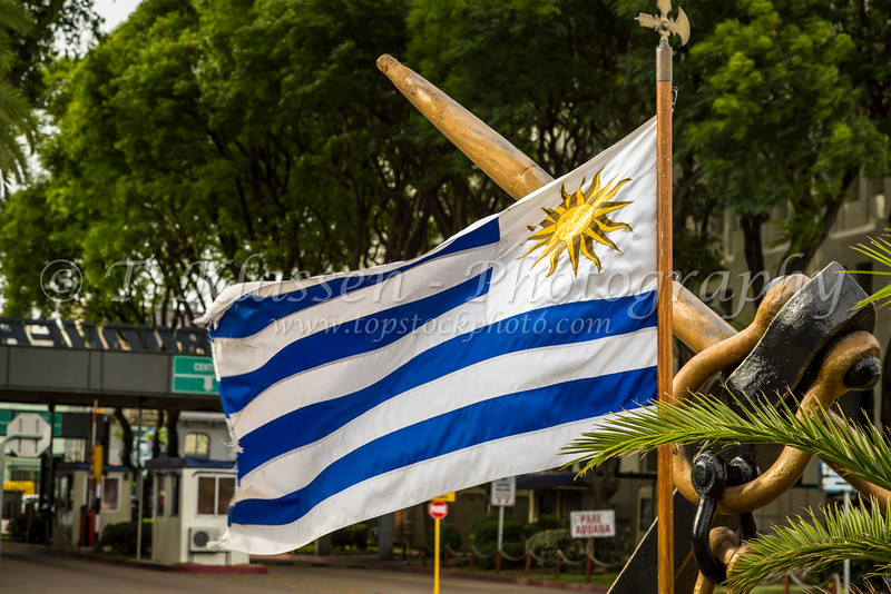 The Uruguayan flag in Montevideo, Uruguay, South America.