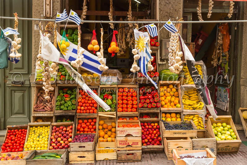 An outdoor street market selling fresh produce in Montevideo, Uruguay, South America.