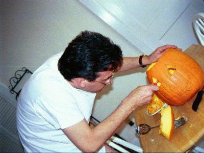 Rustem's first attempt at carving a pumpkin. (1998)