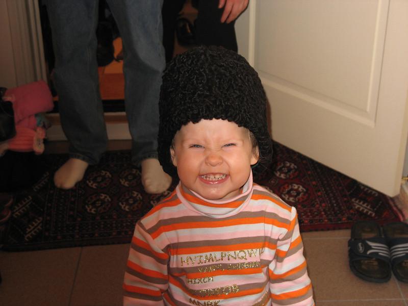 Angelina wearing Rustem's sheep-skin hat. Thanksgiving. Moscow (2007)