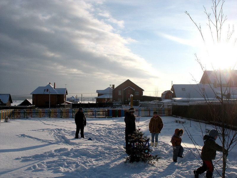 The days are short & the sun sets early on the playground.
