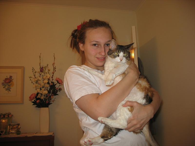 Nastiya & our kitty, Sophie