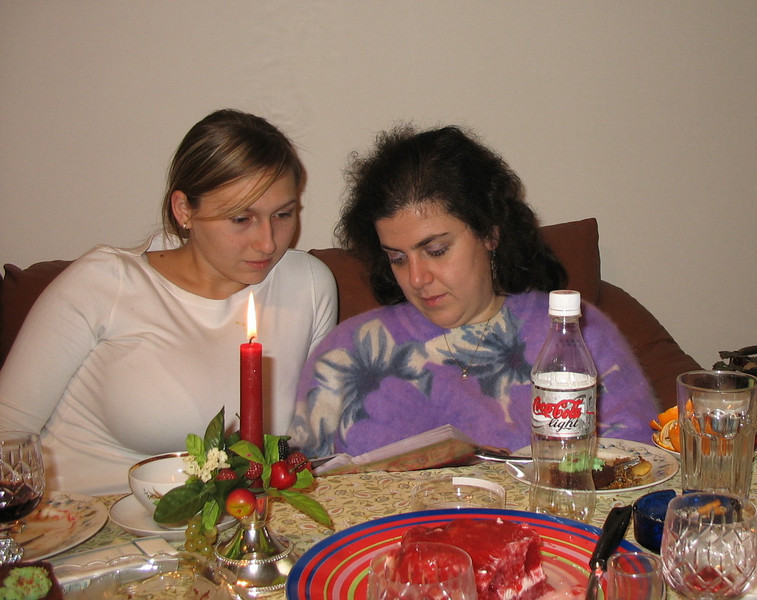Nastiya & our friend, Masha - Orthodox Christmas Eve.