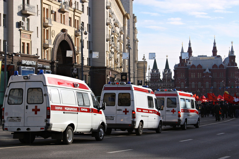 Ambulances also at the ready.