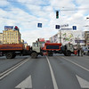 Trucks blocking Tverskaya Street, one of Moscow's main thoroughfares.