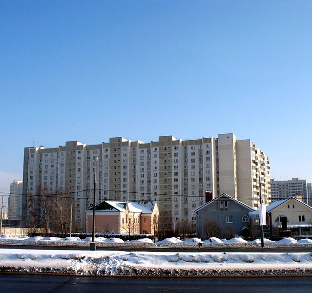 View of our present apartment building - the 14 story one. Moscow.