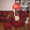 Living room with sofa bed, waiting for you!  The lamp belonged to Rustem's mother & he refused to get rid of it. After a 3.5 year search, I finally found a new shade - at Pottery Barn this past April 2009. Pictured is the old one :-)