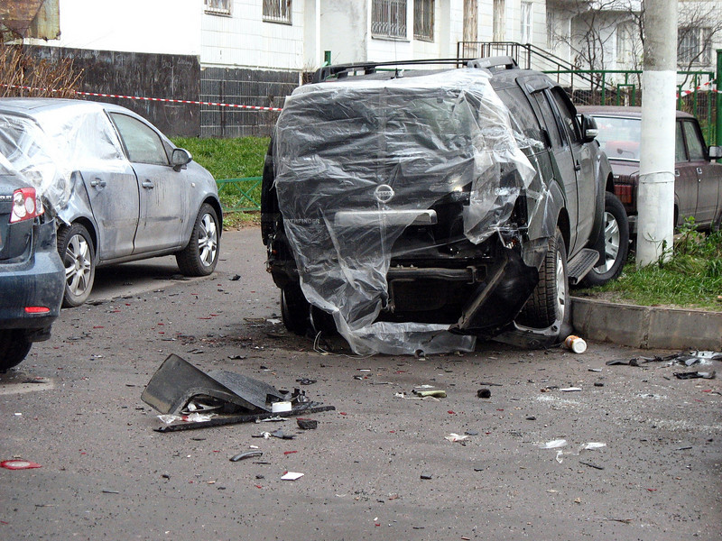 Damaged car after the bomb blast.