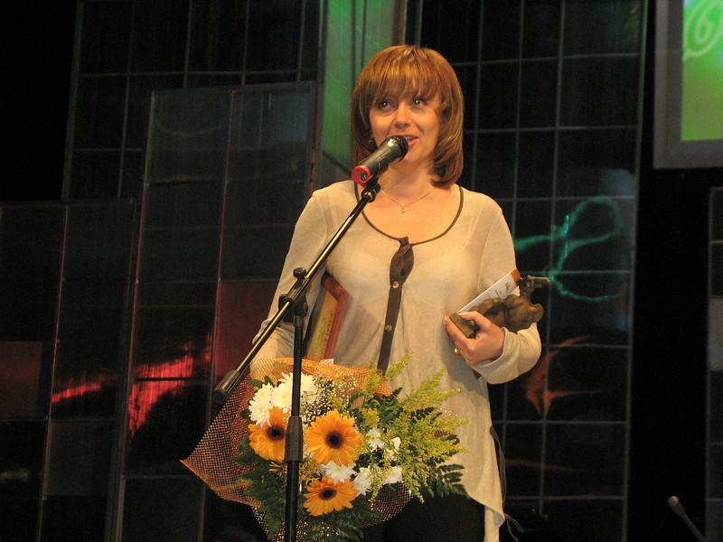 Larissa accepting award on behalf of Cheburashka's creator.