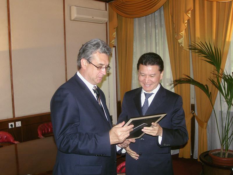 Receiving award from Kalmykian President Ilyumzhinov. Moscow May 15, 2009.