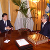 Receiving award & chess set from Kalmykian President Ilyumzhinov. Moscow May 15, 2009.