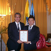 Receiving award from Kalmykian President Ilyumzhinov in Moscow May 15, 2009.