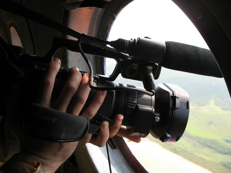 RT cameraman shooting Magadan from helicopter. (07.2009)