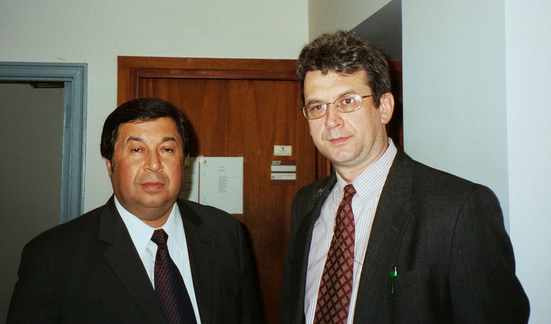 With Boris Shikhmuradov, former Foreign Minister of Turkmenistan. Rustem helped bring Mr. Shikhmuradov to Harvard's Kennedy School of Government in May 2002. In December 2002 Shikhmuradov was sentenced to life in prison for attempting to overthrow the government. He has not been seen nor heard from since. We continue to hope for Shikhmuradov's release.