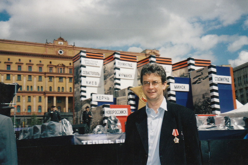Rustem wearing his medal for bravery received for events of October 1993 (Victory Day, 2002)