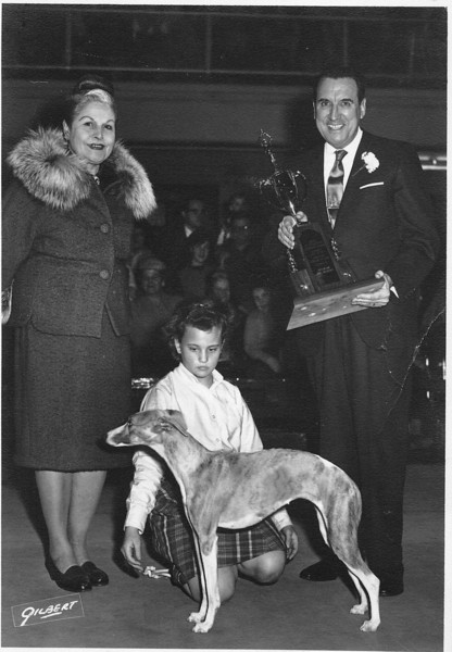 "Susan's first ""big"" dog show win with judge Lina Basquette & Governor Dempsey. Hartford, CT (1965)"