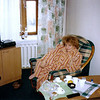 Bundled up at a hotel in Yaroslavl. (2002)