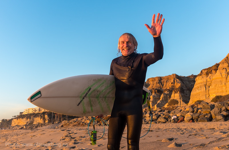 Happy surfer in California
