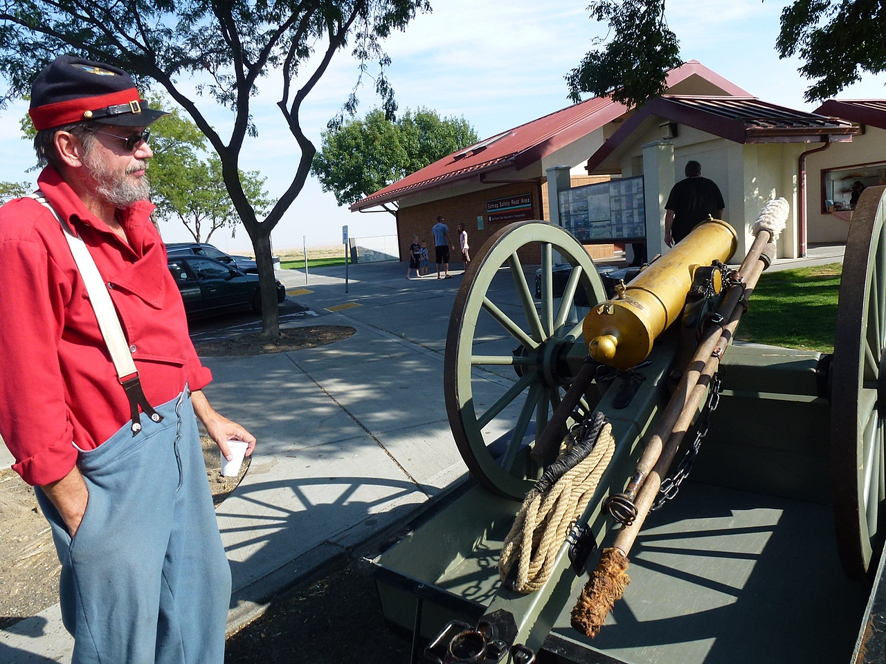 These are Civil War Re-enactment guy's at the rest area.