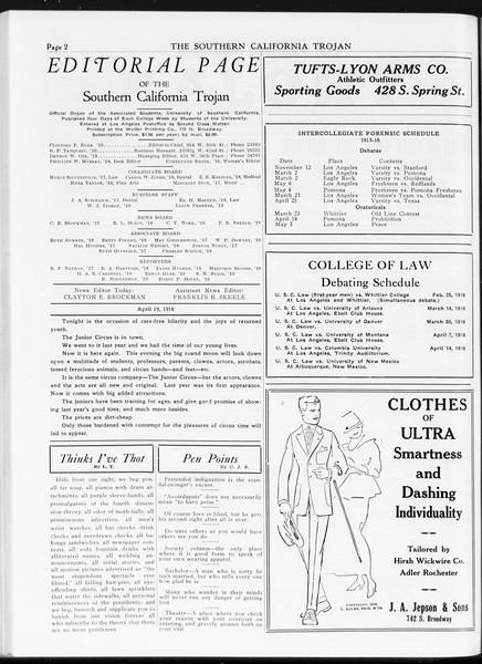The Southern California Trojan, Vol. 7, No. 102, April 19, 1916