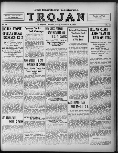 The Southern California Trojan, Vol. 9, No. 15, November 16, 1917