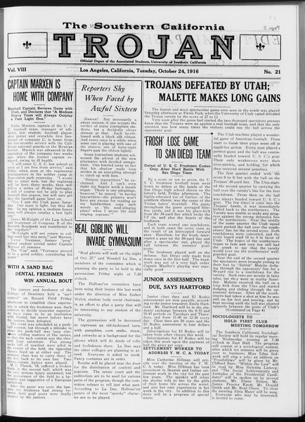 The Southern California Trojan, Vol. 8, No. 21, October 24, 1916