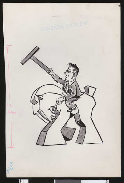"Cartoon of University of Southern California football coach Jeff Cravath riding a Trojan horse and holding a large ""T""."