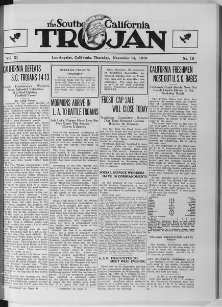 The Southern California Trojan, Vol. 11, No. 18, November 13, 1919