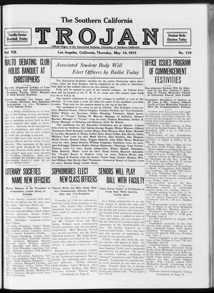 The Southern California Trojan, Vol. 7, No. 119, May 18, 1916