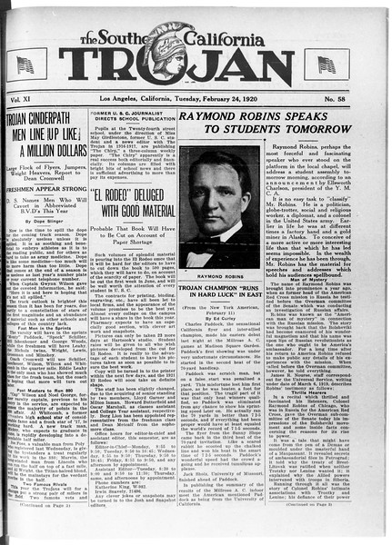 The Southern California Trojan, Vol. 11, No. 58, February 24, 1920