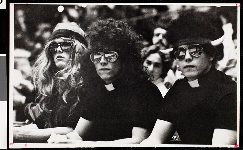 Students wearing wigs, USC, February 4, 1982