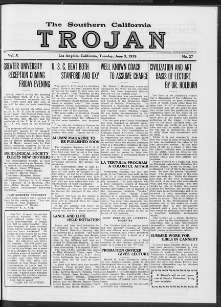 The Southern California Trojan, Vol. 10, No. 27, June 03, 1919