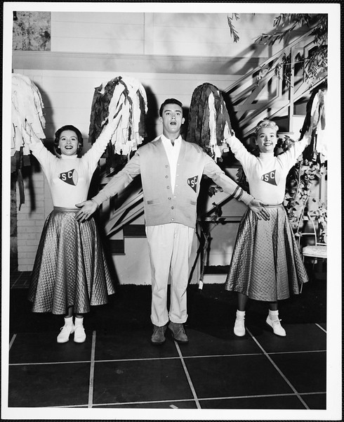 Judy Boutin, Ronnie Burns and Yvonne Lime showing their Trojan spirit, [s.d.]