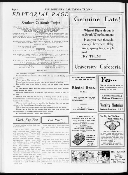 The Southern California Trojan, Vol. 7, No. 107, April 27, 1916
