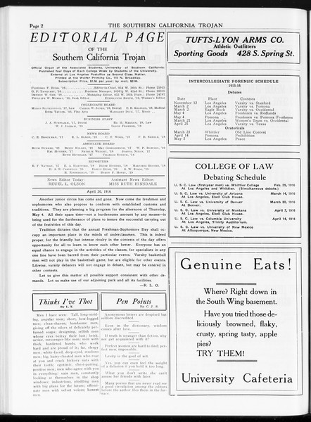 The Southern California Trojan, Vol. 7, No. 103, April 20, 1916
