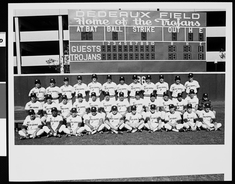 USC baseball team at the Dedeaux Field, ca.1975