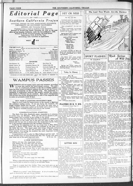 The Southern California Trojan, Vol. 11, No. 99, May 28, 1920