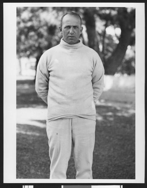 "University of Southern California football coach Elmer ""Gloomy Gus"" Henderson, USC campus, Los Angeles, 1921."