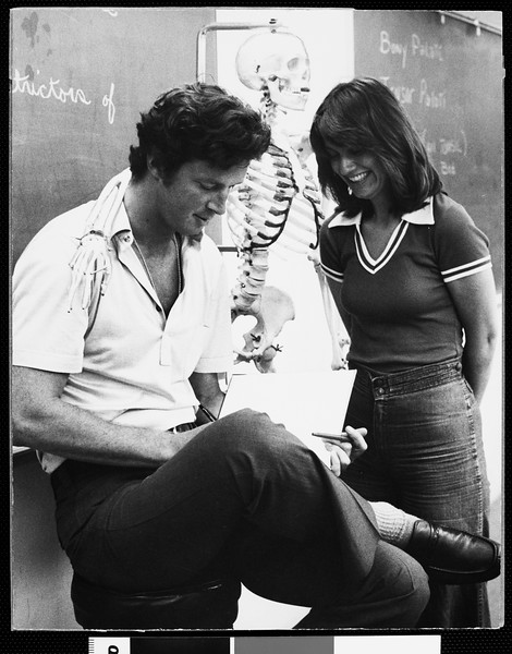 Popular author Michael Crichton signs autographs for students on the Health Science campus, USC,  1977-78