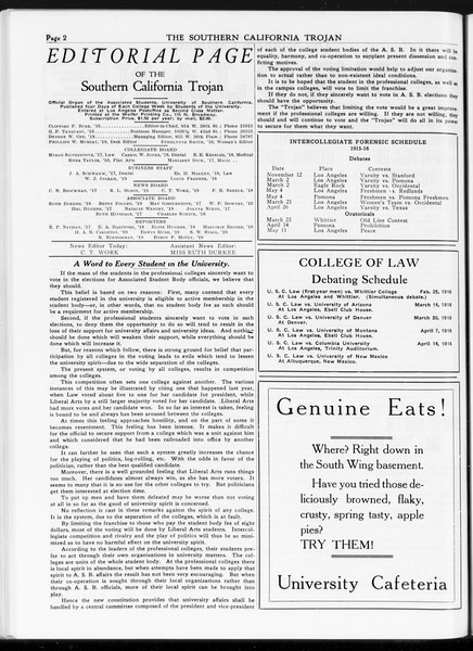 The Southern California Trojan, Vol. 7, No. 104, April 21, 1916