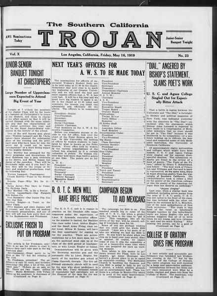 The Southern California Trojan, Vol. 10, No. 23, May 16, 1919