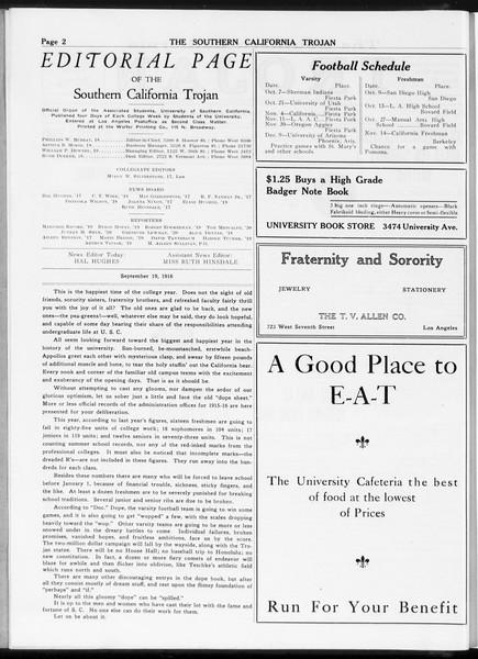 The Southern California Trojan, Vol. 8, No. 1, September 19, 1916