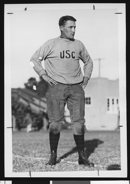 University of Southern California freshman football coach Chet Dolley, USC campus, Los Angeles, 1924.